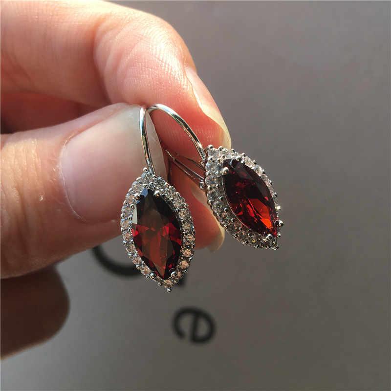 גביש נשי סוס העין עגילי יוקרה כסף צבע קליפ עגילים לנשים לבן כחול אדום סגול אבן עגילים