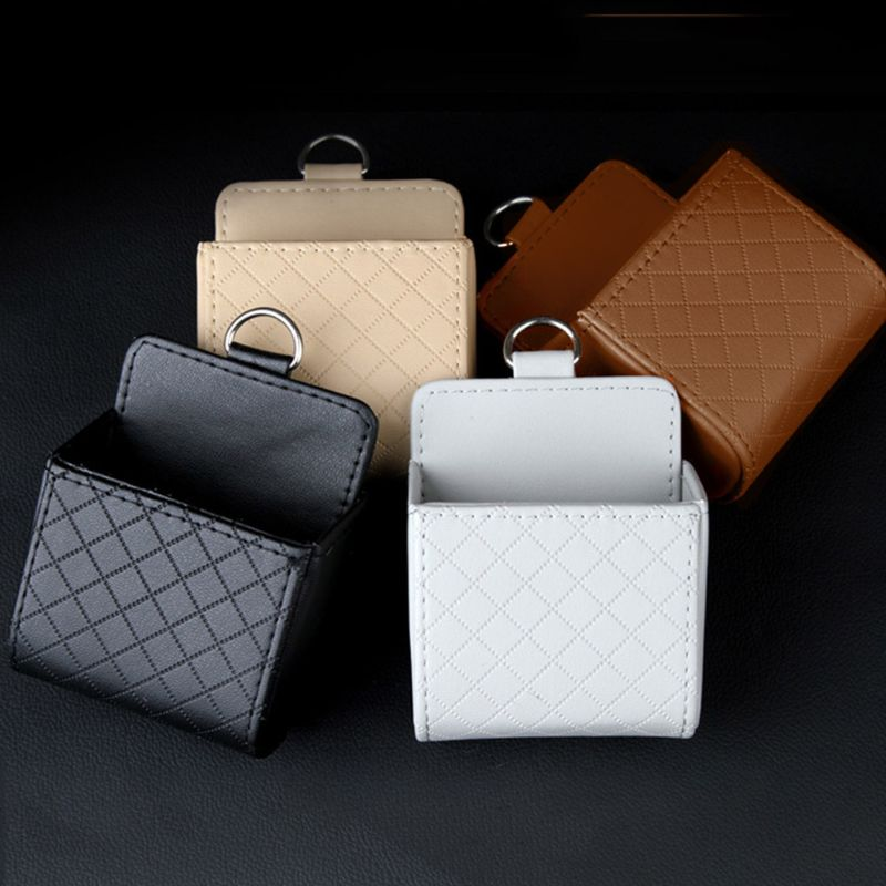 Auto Vent Outlet Trash Box PU Leather Car Mobile Phone Holder Storage Bag Hanging Organizer F42A