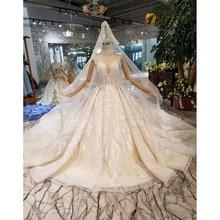 BGW HT43023 Luxury Material Wedding Dress With Wedding Veil High Neck Cap Sleeve Shiny Handmade Bride Dress Wedding Gown Fashion