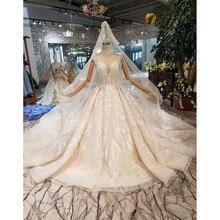 BGW HT43023 יוקרה חומר שמלת כלה עם רעלה גבוהה צוואר שווי שרוול מבריק בעבודת יד הכלה שמלת חתונה שמלת אופנה