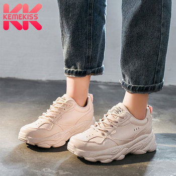 цены KemeKiss Sneakers Casual Vulcanized Shoes Woman Thick Sole Round Toe Shoes Woman Fashion Outdoor Shoes Footwear Size 35-40