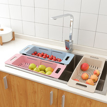 Adjustable Sink Dish Drying Rack Kitchen Organizer Plastic Drain Basket Vegetable Fruit Holder Storage