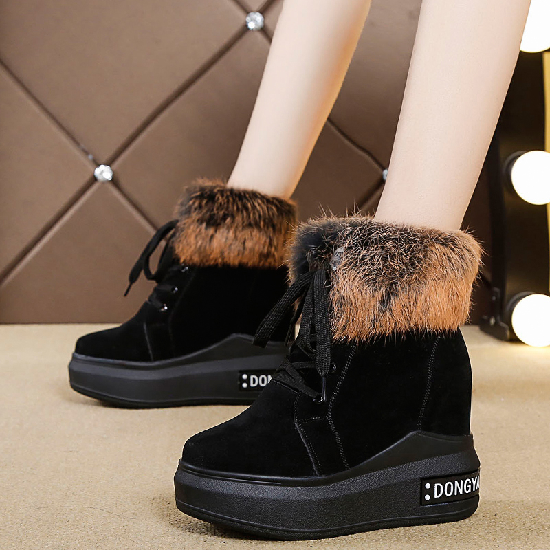 2019 Winter High Platform Boots 8 5CM High Heels Women Thick Sole Ankle Shoes Wedges Autumn Sneakers Warm Fur Snow Boots Woman in Ankle Boots from Shoes