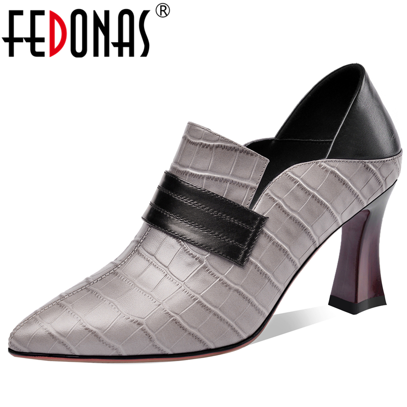 FEDONAS Fashion Concise Euro Style Women Cow Leather Pumps Mixed Colors Slub Pattern Wedding Casual Shoes Point Toe Shoes Woman