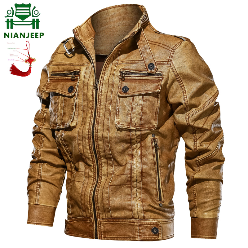 Free Gift NINAJEEP Mens Leather Jacket Spring Autumn Men Vintage Motorcycle Faux Leather Jacket Coat Fashion PU Leather Jacket