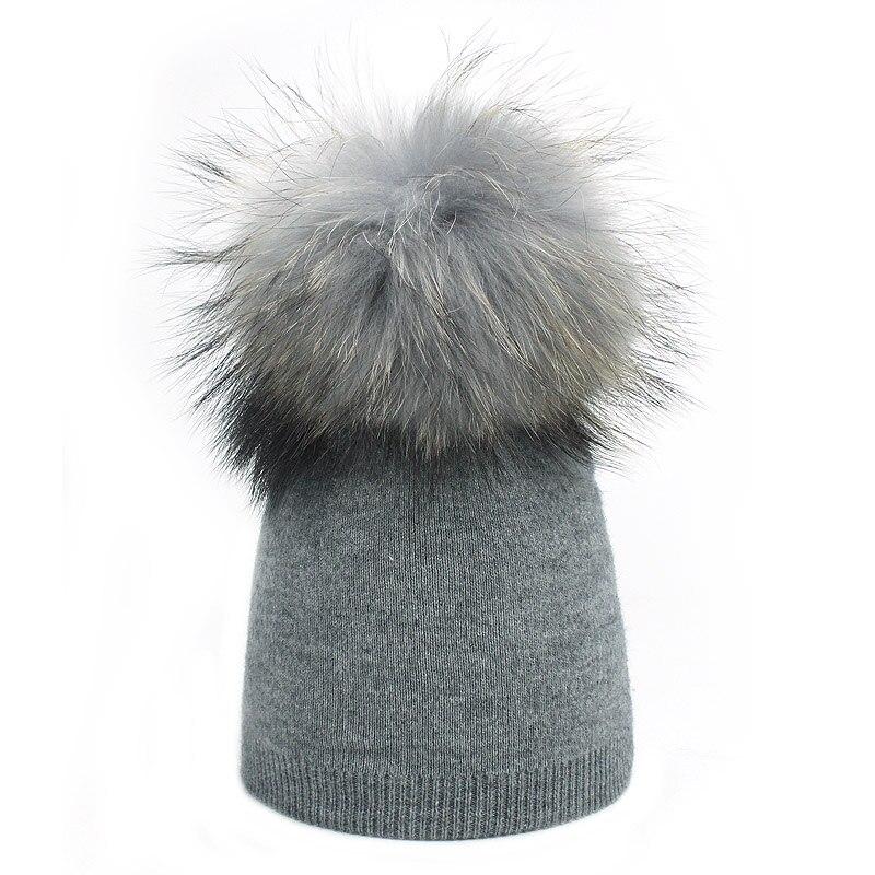 Детская шапка, вязаная цветная шапка с помпоном, Шапка-бини с меховым помпоном, зимняя шапка для мальчиков и девочек, теплая мягкая шапка Skullies Bone для детей - Цвет: D