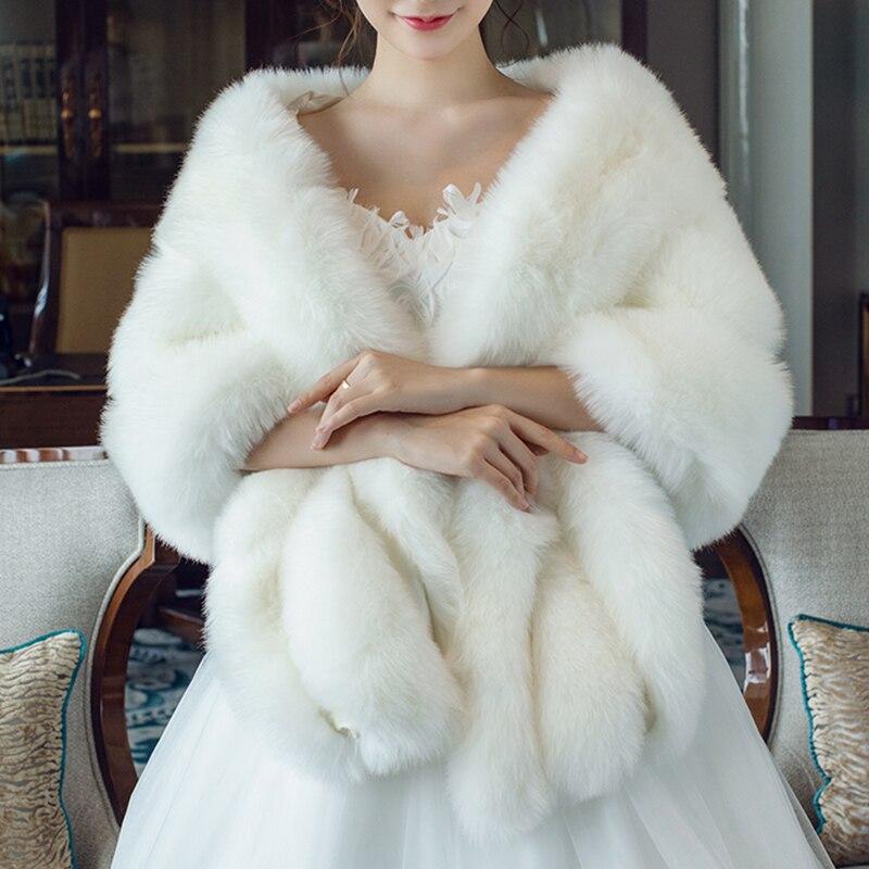 Fashion Long Shawl Wrap Faux Fur Stole Winter Women Dress Cover Up Accessories Sleeveless Shrug Handmade