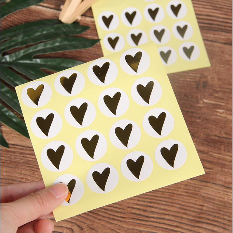160Pcs/pack Hot Stamping Bronzing Love Heart Sealing Sticker For Baking DIY Gifts Package Label Kids Stationery Stickers
