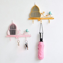 Handmade Nordic Concise Bird Wall Decor Cute Free Punch Storage Rack Wall Mounted Shelf Home Wall Hanging Decoration