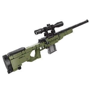 Строительные блоки для военного оружия WW2 AWM, снайперская винтовка, техника Diy, игрушки для мальчиков, Детские кирпичи, игрушки, рождественск...