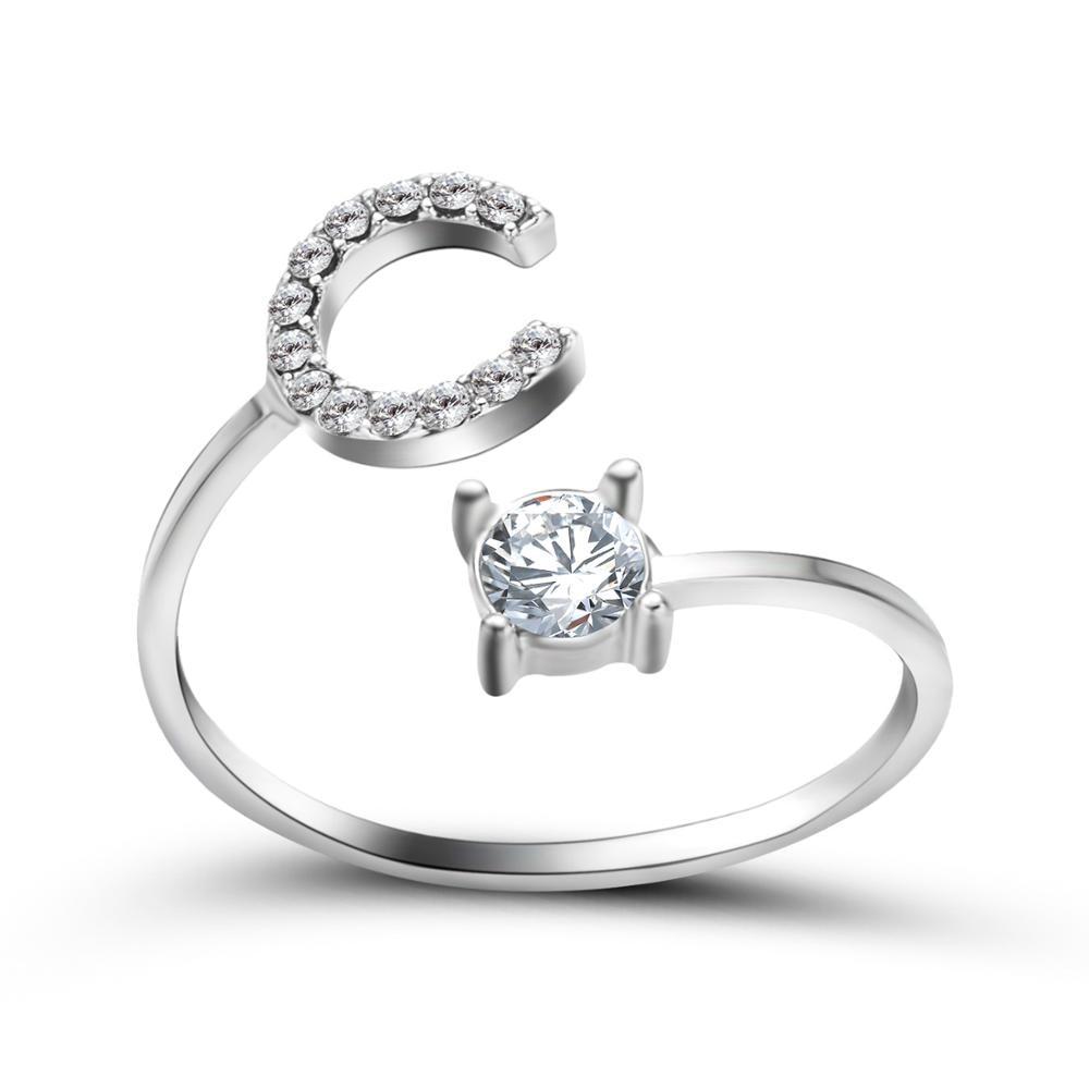 Moda minúsculos 26 letras anéis para mulheres criativo ajustável aberto anel alfabeto nome inicial dedo anel jóias presente da amizade
