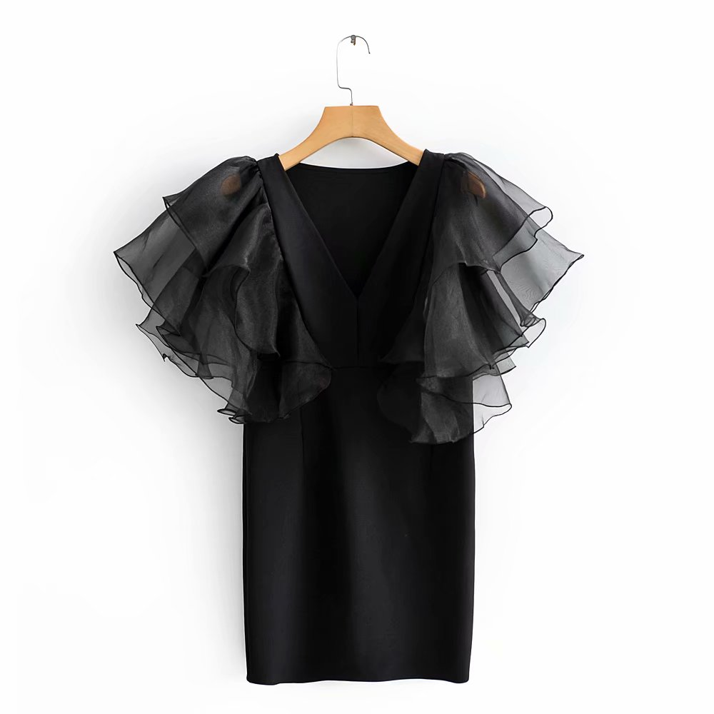 2020 Women V Neck cascading ruffles Butterfly Sleeve Organza Patchwork Vestido Casual Slim Mini Dress Female Chic Dresses DS3125