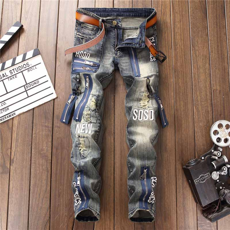 Mcikkny Fashion Men`s Hip Hop Ripped Jeans Pants Multi Zipper Patchwork Denim Trousers For Male Letter Embroidered (6)
