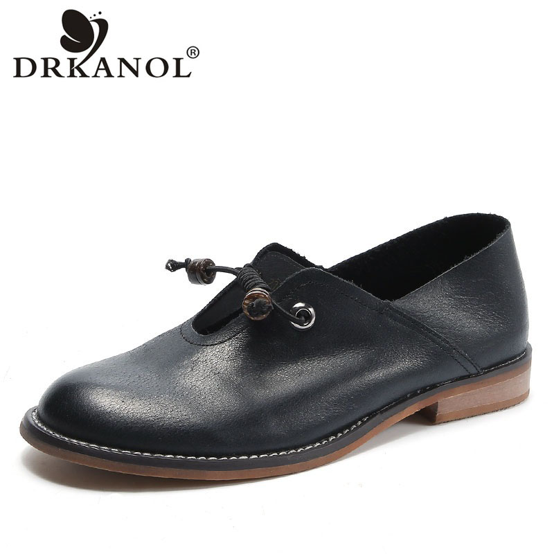 DRKANOL 2021 Spring British Style Ladies Shoes 100% Genuine Leather Oxford Shoes For Women Slip On Casual Flat Shoes Handmade