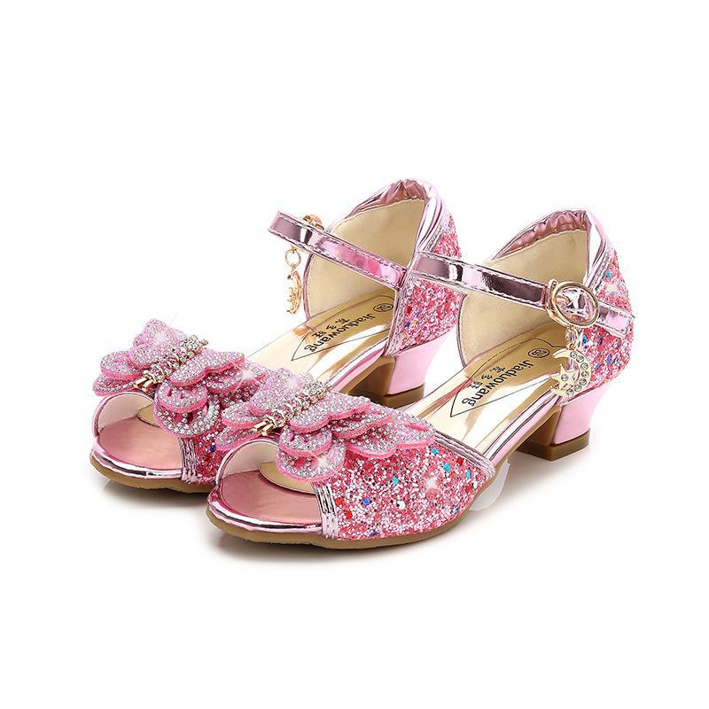 Children Sandals For Girls Weddings Girls Sandals Crystal High Heel Shoes Banquet Pink Gold Blue Glitter Leather Shoes Butterfly