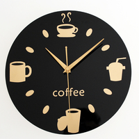 Coffee Wall Clock Simple Modern Design Decorative Kitchen Clocks Retro Art Style Quartz Hanging Watch Home Decor 12 inch