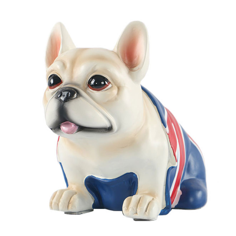 Simulation Rice Flag Resin French Bulldog Statue Creative Office Desktop Ornaments Home Art&Craft Decorations X3735
