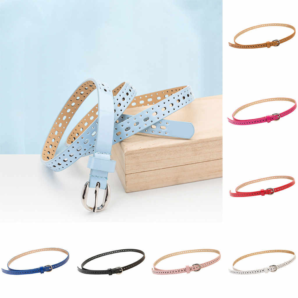 Women Candy Color strap belt Ladies Pure Color leather Girdle Ladies Metal Buckle Waistband Belt Fashion Simple Female Thin belt