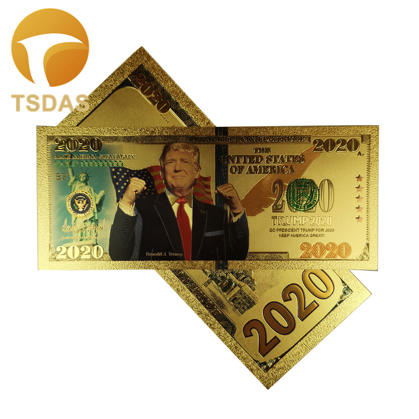 10Pcs/Lot Nice America Trump Banknotes President 2020 Bills Banknote In 24K Gold Plated Fake Money for Gifts image