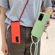 Płynnego silikonu TPU Case do Samsung Galaxy A21S A40 A20E A10E A10 A20 A30 A80 A90 A01 A11 A21 A31 Case naszyjnik szyi liny pokrywa