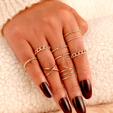 Punk Gold Sliver Color Twisted Rings Set For Women Girls 2020 Vintage Round Knuckle 8Pcs/Set Female Wedding DIY Jewelry