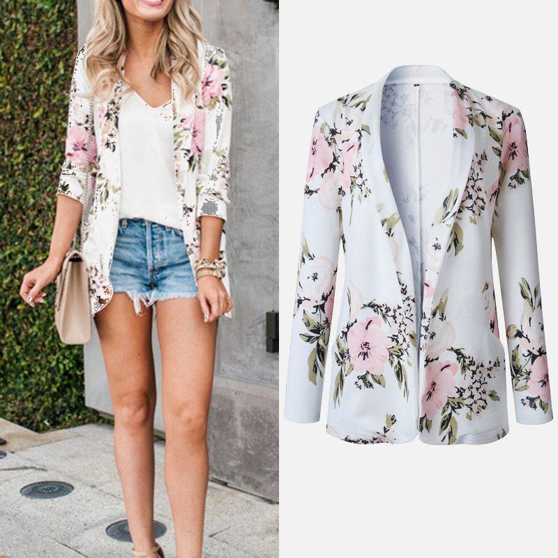 2019 Spring Autumn Women's Blazers Floral Printed Notched Long Sleeve Office Lady Pockets Jacket Female Elegant Female Outwear