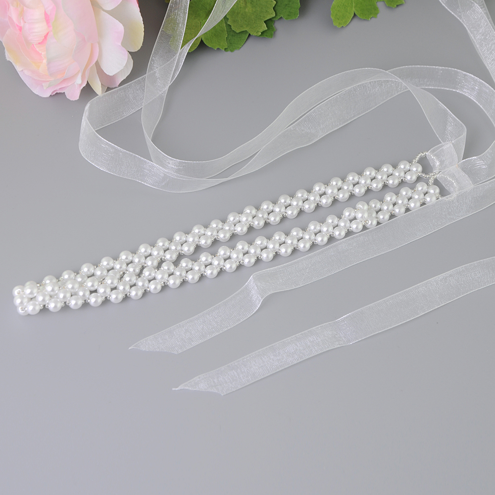 TRiXY S34 Pearl Beaded Belts for Ladies Girls Sash Belt Factory Direct Wedding Dress Belts Fashion Bridal Belt Decorative Belts