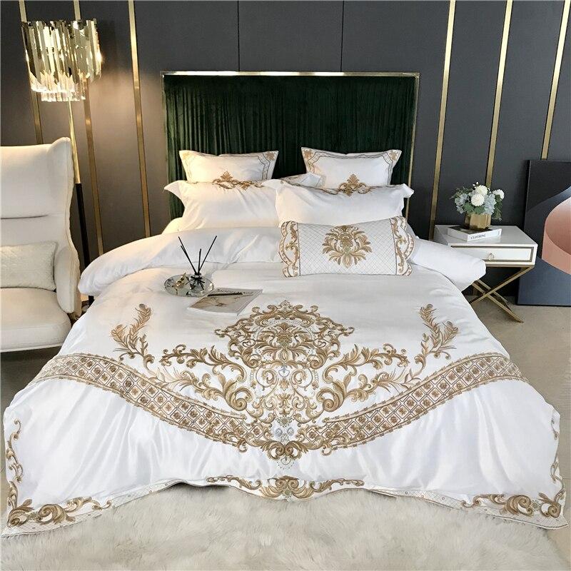 New White Luxury European Royal Gold Embroidery 60S Satin Silk Cotton Bedding Set Duvet Cover Bed