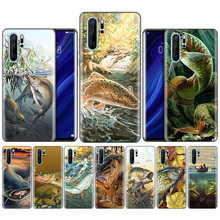 Black Silicone Case for Huawei P30 P20 P10 Mate 30 20 10 Lite Pro Coque Bags Cover Capas Back Fishing Gear Fish Patterned