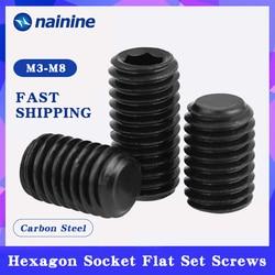 DIN913 [M3-M12] Carbon Steel Metric Thread Grub Screws Flat Point Hexagon Socket Set Screws Black Headless B021