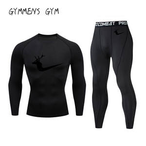 Men's New Brand Gym Training Raglan Sleeve Compression Shirt 2019 Long Sleeve + Trousers Men's Sports Fitness Set Animal Elk