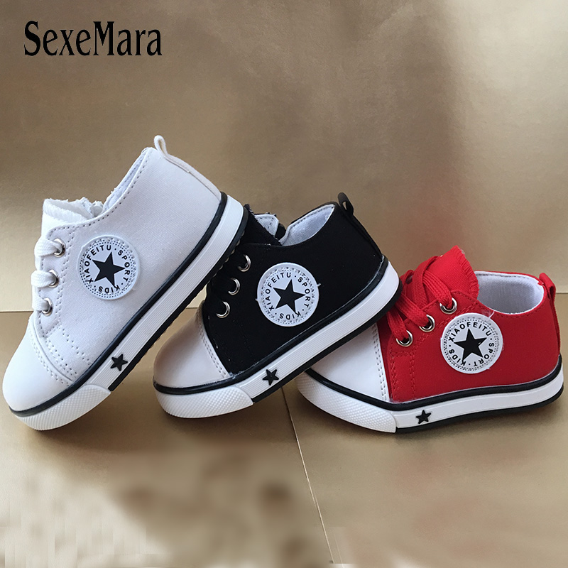Flat With Boy Shoes Kids Low Top Sneakers For Children Girls Lace Up Canvas Baby Infant Tenis Infantil  Toddler Sneaker C12181
