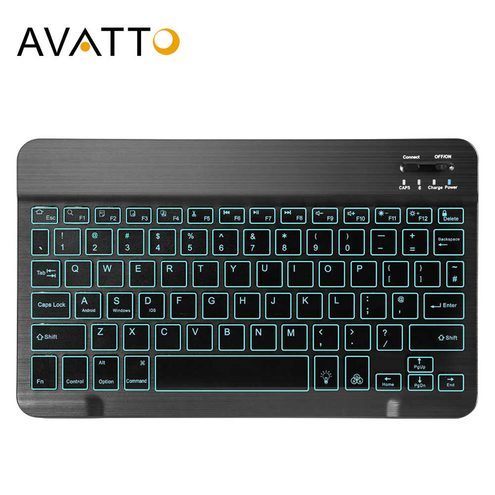 AVATTO Rusia Bahasa Inggris Ultra-tipis 7 Warna LED Backlit Wireless Bluetooth Keyboard Tablet untuk Android Mac OS Windows tablet Ponsel