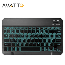 AVATTO Russian/English Ultra thin 7 Color LED Backlit Wireless Bluetooth Tablet Keyboard for Android Mac OS Windows Tablet Phone