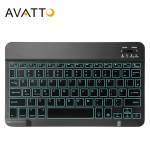 AVATTO Russian/English Ultra-thin 7 Color LED Backlit Wireless Bluetooth Tablet Keyboard for Android Mac OS Windows Tablet Phone