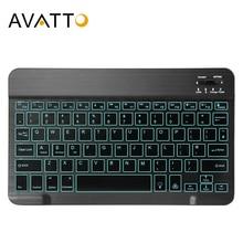AVATTO Russisch/Englisch Ultra dünne 7 Farbe LED Backlit Drahtlose Bluetooth Tablet Tastatur für Android Mac OS Windows tablet Telefon