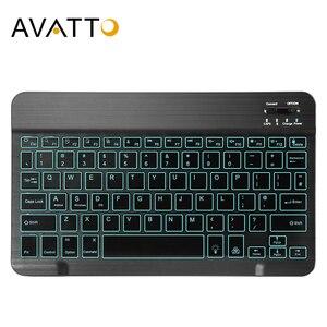 Image 1 - AVATTO russe/anglais Ultra mince 7 couleurs LED rétro éclairé sans fil Bluetooth tablette clavier pour Android Mac OS Windows tablette téléphone