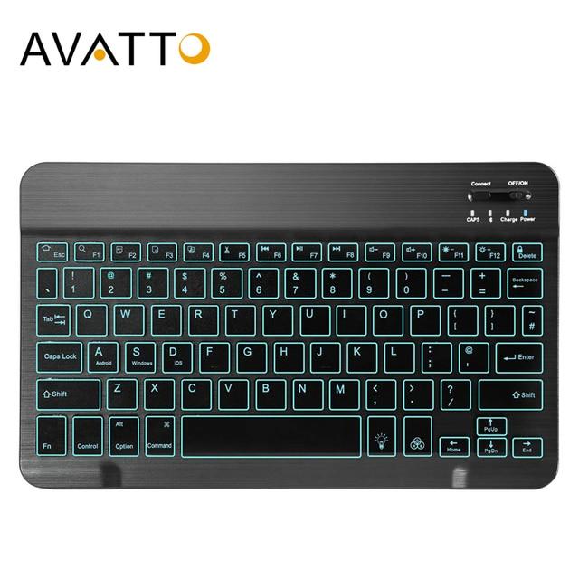 AVATTO russe/anglais Ultra mince 7 couleurs LED rétro éclairé sans fil Bluetooth tablette clavier pour Android Mac OS Windows tablette téléphone
