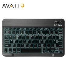 AVATTO teclado ultrafino para tableta, inalámbrico por Bluetooth, 7 colores, para Android, Mac, OS, Windows, tableta y teléfono