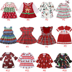 Xmas Toddler Kids Baby Girl Long Sleeve Dress Princess Christmas Deer Dresses Baby Girl Clothes party dress