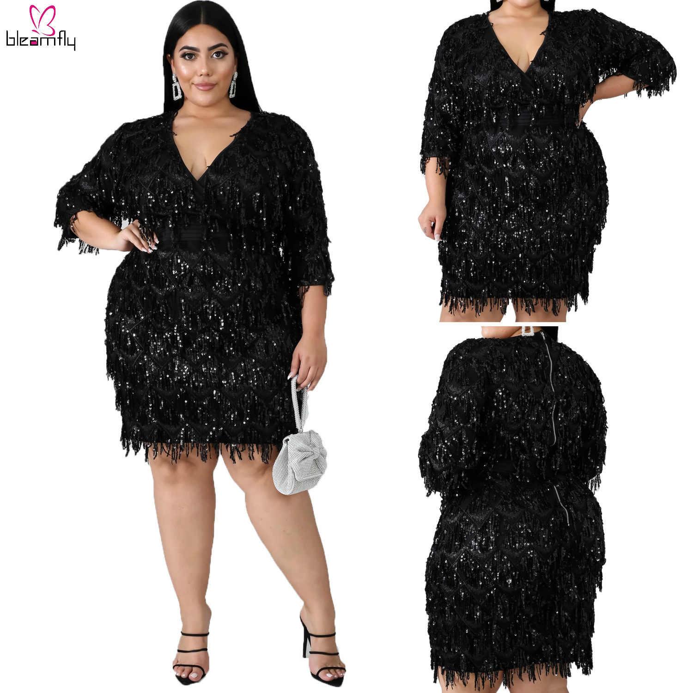 PLUS ขนาด 2XL-6XL Sequins Tassels มินิผู้หญิง V คอครึ่งแขน Club PARTY Night Sparkly Glitter ชุดเทศกาล Vestidos