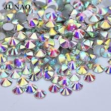 JUNAO SS3 6 10 12 16 20 30 50 Блестящие кристаллы AB аппликация из стеклянных страз круглые украшения для ногтей с плоской задней стороной хрустальные с...