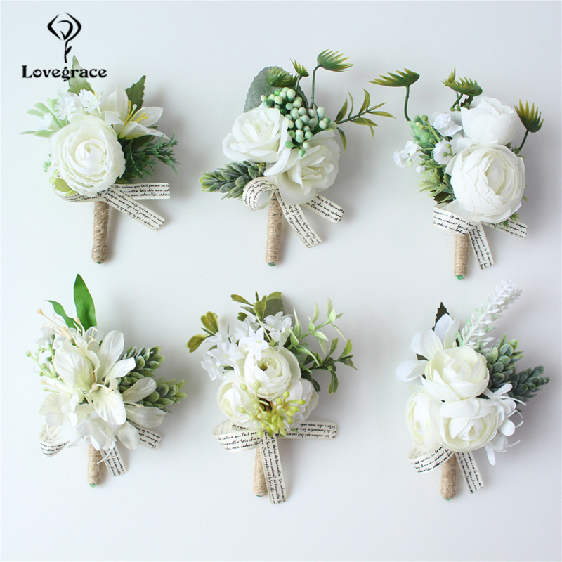 Lovegrace Men Wedding Boutonniere Groom Brooch Pins Bride Wrist Corsages White Rose Boutonniere Party Wedding Planner Corsage