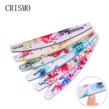 Crismo Berwarna 6 Pcs/lot Nail File Half Moon Plastik Plastik Kuku Amplas Manikur Buffer Blok Set Nail Art File untuk bahasa Polandia(China)