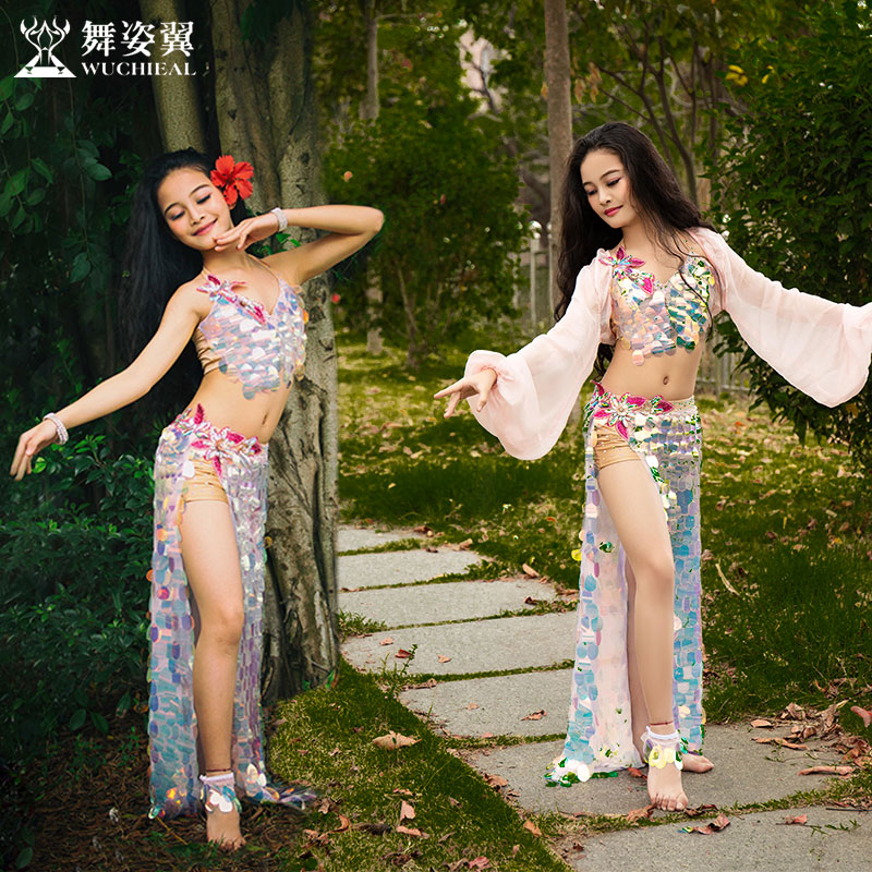 New Children's Belly Dance Performance Costume 2019 New Sequined Long Skirt Suit Oriental Dance For Kid Girls RT353