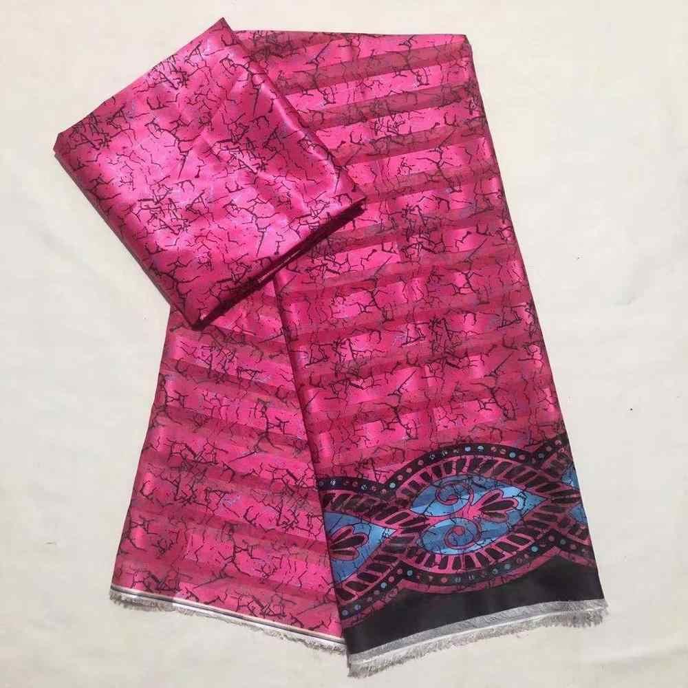 Venda quente gahna estilo cetim tecido de seda com organza fita africano tecidos design 2019 alta qualidade 4 + 2 metros