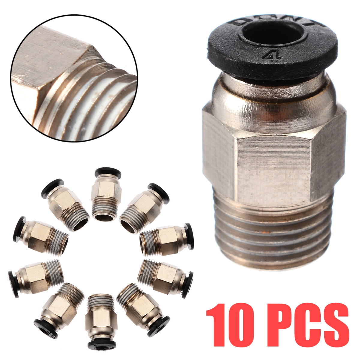 5pcs/10pcs Push In Quick Release Fitting Connector J-Head Hotend For V6 PC4-M10 3D Printer Straight Tube Pipe Connection