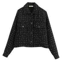 Vintage Chic Pockets Single Breasted Tweed Jackets Women Fashion Turn-down Colla