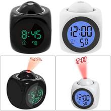 Mini Proyektor Digital Jam Alarm Waktu Tanggal LCD Display Suhu Kelembaban Voice Clock Dekorasi Rumah Desktop Jam Alarm(China)