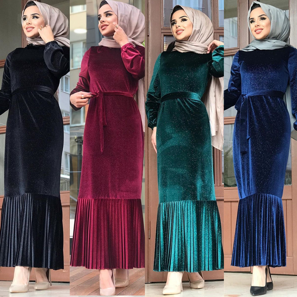 Elegant Muslim Velvet Abaya Pleated Maxi Dress Hijab Full Kimono Long Robe Gowns Jubah Middle East Ramadan Arab Islamic Prayer